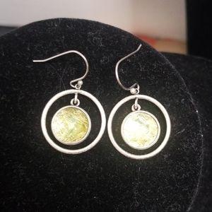 Lia sophia  silver & green earrings
